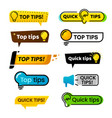 quick tips idea suggestion tricks solutions vector image vector image