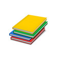 realistic detailed 3d color blank hardcover books vector image vector image