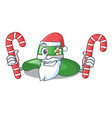 santa with candy beach hat in the mascot closet vector image