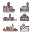set isolated churches europe in color vector image