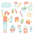 set items for zero waste living plastic free vector image