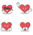 set of heart character with cool waving afraid vector image