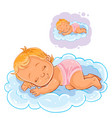 small baby in a diaper asleep using a cloud vector image