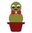 smiling green cactus with a red bow in a red pot vector image vector image