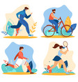 summer time sport activities set sports exercises vector image