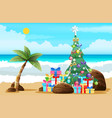 tropical christmas beach sand palm trees boxes vector image vector image