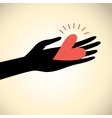 greeting card hand with heart vector image