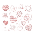 Hand drawn hearts doodle icons for wedding vector image