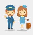 cute pilot and stewardess vector image