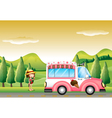 A pink ice cream bus and the little girl vector image vector image