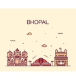 Bhopal skyline linear style vector image vector image