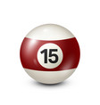 billiardyellred ow pool ball with number 15 vector image vector image