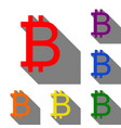 bitcoin sign set of red orange yellow green vector image vector image