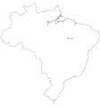 Black White Brazil Outline Map