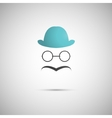 blue hat with a mustache on the background vector image
