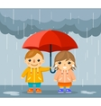 boy and girl with umbrella standing under rain vector image vector image