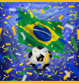brazilian national flag and soccer ball vector image