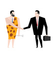 Businessman and ancient people make deal tradel vector image