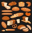cartoon bread bakery rye products wheat vector image