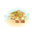 cartoon house in cross section background vector image vector image