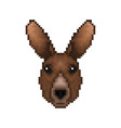 cartoon pixelated kangaroo icon pixel design vector image vector image