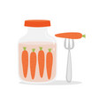 cartoon with jar of pickled carrots vector image