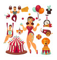 circus elements and performers isolated vector image