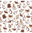 coffee cup with bean seamless pattern background vector image vector image
