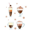 coffee drinks cappuccino mocha vector image