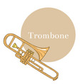 colored trombone in hand-drawn style vector image vector image