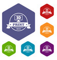 cube 3d printing icons hexahedron vector image vector image