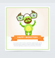 cute funny green monster with mustache and vector image vector image