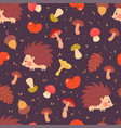 cute hedgehogs and mushrooms seamless pattern vector image