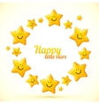 cute little smiling stars frame vector image vector image