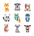 different colorful animals set geometric flat vector image vector image