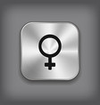 female icon - metal app button vector image vector image