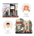 fitness gym people training with personal vector image