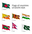 flags of south asian countries vector image