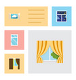 flat icon window set of glass frame frame cloud vector image vector image