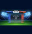 football scoreboard soccer cup statistics vector image