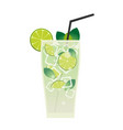 Fresh mojito with lime and green mint leaves in