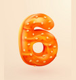glazed donut font number 6 number six cake vector image vector image