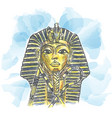 golden mask egyptian pharaoh hand drawn vector image