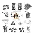 hand drawn coffee set Sketch vector image