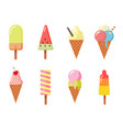ice cream set in flat style vector image vector image