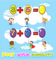 kids adding numbers on balloons vector image vector image