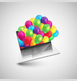 notebook as a gift with colorful balloons vector image