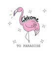 pink flamingo - textile graphic t shirt print vector image