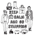Placard shopping sign woman black and white card vector image vector image