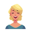 Pretty blond woman laughing facial expression vector image
